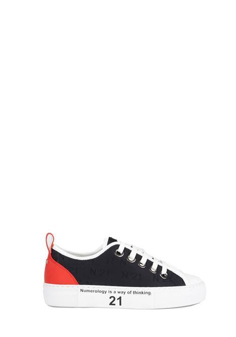 SNEACKERS IN TESSUTO NERO CON LOGO RICAMATO N°21 | Sneaker | 00119FWS00770079S002