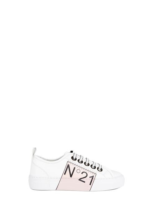 WHITE LEATHER SNEAKERS WITH LOGO N°21 | Sneakers | 00119FWS00930119C001