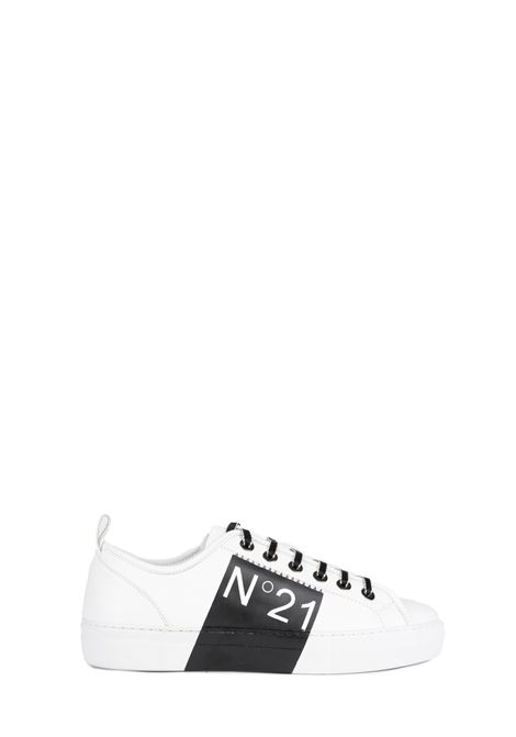 WHITE LEATHER SNEAKERS WITH LOGO N°21 | Sneakers | 00119FWSU0930119N001