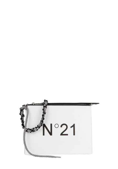 WHITE CLUTCH WITH LOGO AND BRAIDED CHAIN WITH ROPE N°21   Clutches   N06223NT0018N0004