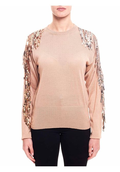 BEIGE WOOL SWEATER WITH PAILLETTES FRINGE APPLICATION Nude | Sweaters | 1101037201