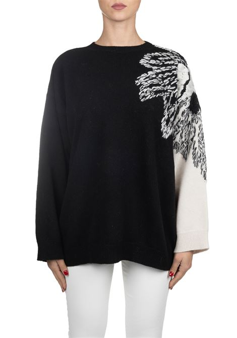TWO-TONE WOOL SWEATER WITH EMBROIDERY Nude | Sweaters | 110105309