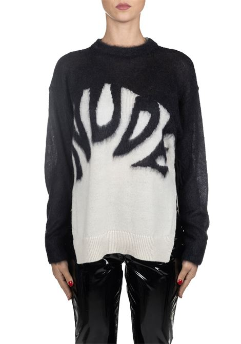MULTICOLORED MOHAIR SWEATER WITH FRONT LOGO EMBROIDERY Nude | Sweaters | 110107528