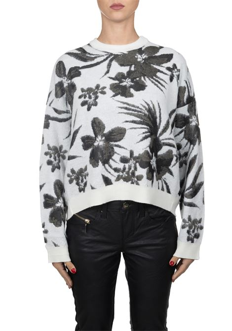 WHITE SWEATER WITH FLOWER EMBROIDERY Nude | Sweaters | 110108401