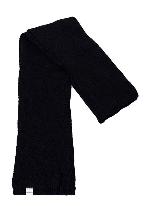 BLACK WOOL SCARF WITH RHOMBUS FANTASY PAOLO PECORA | Scarfs | 300270129000
