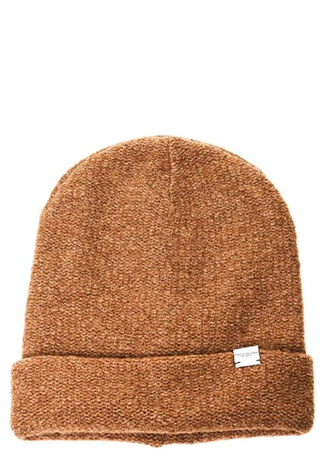 CAMEL WOOL HAT WITH LOGO PLATE APPLICATION PAOLO PECORA | Hats | 304671751978