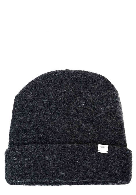 GRAY WOOL HAT WITH LOGO PLATE APPLICATION PAOLO PECORA | Hats | 304671758996