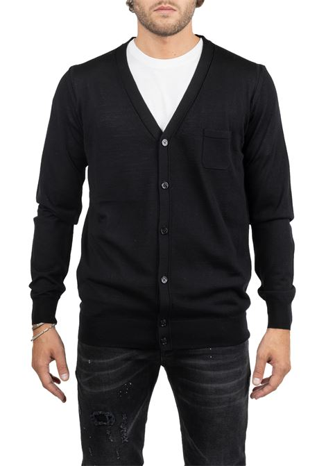 BLACK WOOL CARDIGAN WITH POCKET PAOLO PECORA | Cardigans | A004F0019000