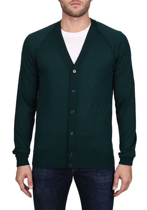 GREEN WOOLEN CARDIGAN SWEATER PAOLO PECORA | Cardigans | A017F0015558