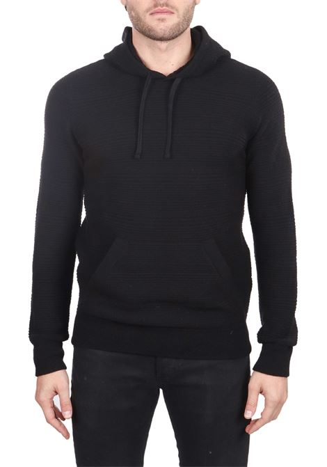 SWEATER WITH A BLACK VIRGIN WOOL HOOD PAOLO PECORA | Sweaters | A040F0099000