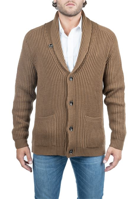 CARAMEL WOOL CARDIGAN PAOLO PECORA | Cardigans | A06270121181