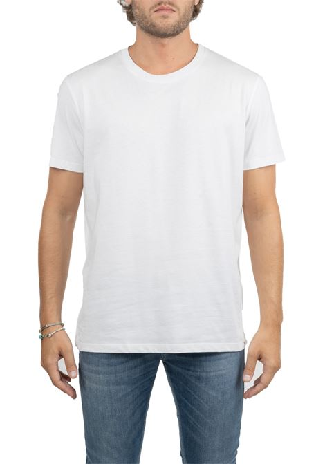 WHITE T-SHIRT IN COTTON WITH PLATE LOGO ON THE BOTTOM PAOLO PECORA | T-shirt | F061T4001101