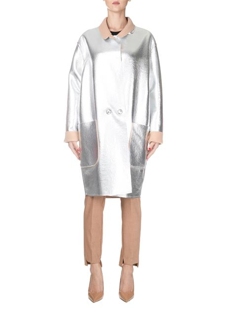 SILVER REVERSIBLE COAT SUMMER METAL COOKED WOOL PINKO | Coats | ESTATE1B14317720IC7