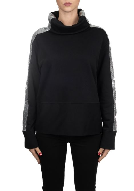 BLACK COTTON SWEATSHIRT WITH METALLIC KNITTED BANDS PINKO | Sweatshirts | FAME1B148AY54BZ99