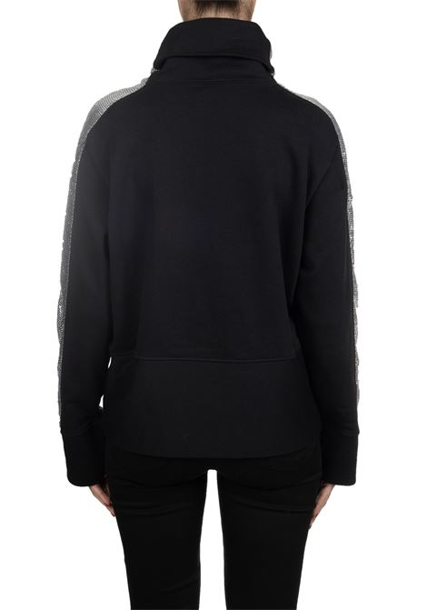 BLACK COTTON SWEATSHIRT WITH METALLIC KNITTED BANDS PINKO   Sweatshirts   FAME1B148AY54BZ99