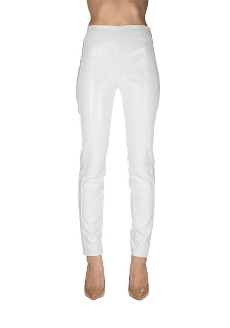 SLIPPED WHITE TROUSERS WITH POLISHED CROCODILE PRINT PINKO | Pants | GRADINO3 1B13XW7743Z06