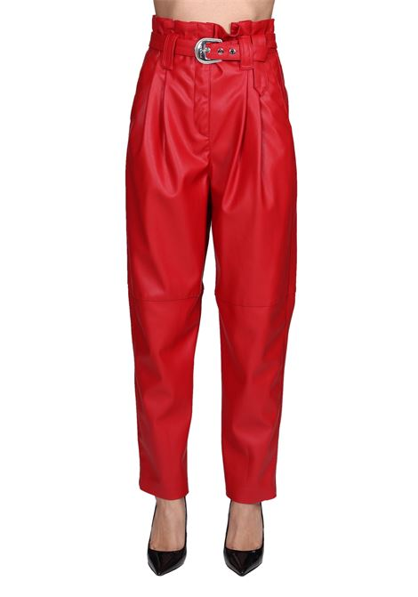 RED MADERA TROUSERS IN LEATHER LEATHER PINKO   Pants   MADERA1N12KV7105R43