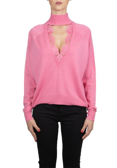 PINK PULLOVER WITH SOFT LACE PINKO | Sweaters | MORBIDAMENTE1G147LY5N4P21