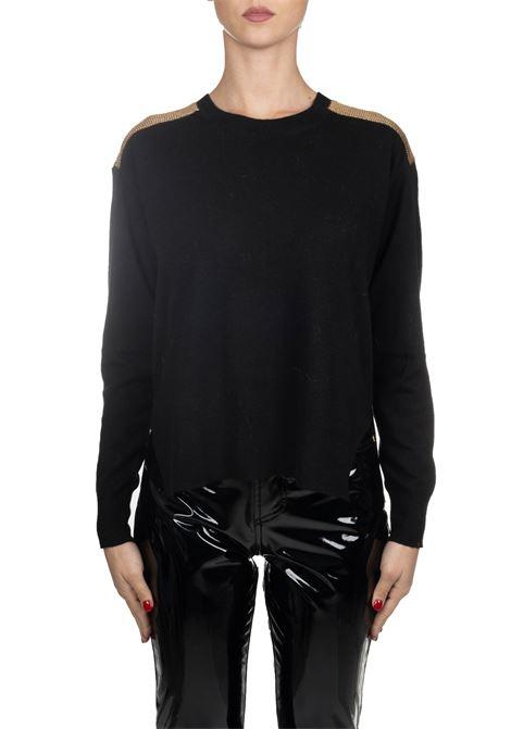 BLACK POLISH CASHMIRE MIXED PULLOVER PINKO | Sweaters | POLACCO1B1458Z478Z99