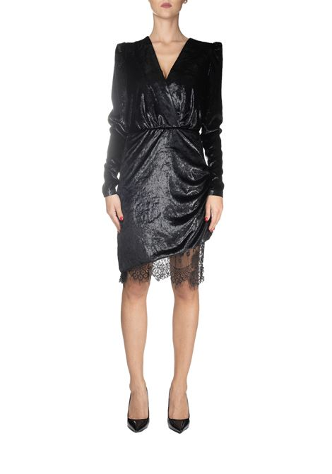 BLACK RIVER VELVET DRESS WITH WET EFFECT PINKO | Dress | RIVER1B140EY5VEZ99