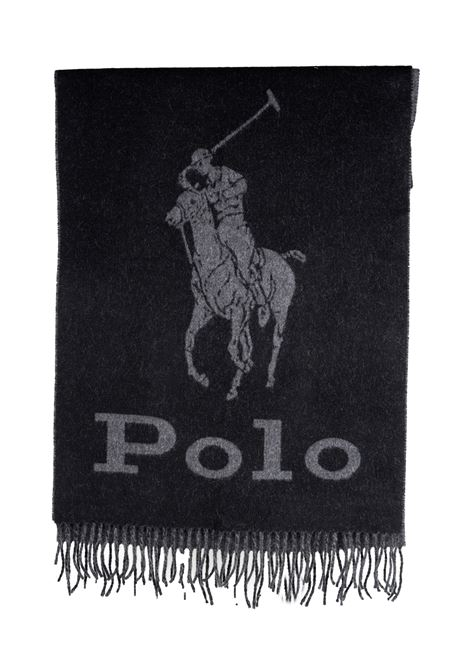 BLACK WOOL SCARF WITH FRONT LOGO PRINT POLO RALPH LAUREN | Scarfs | 449775974001