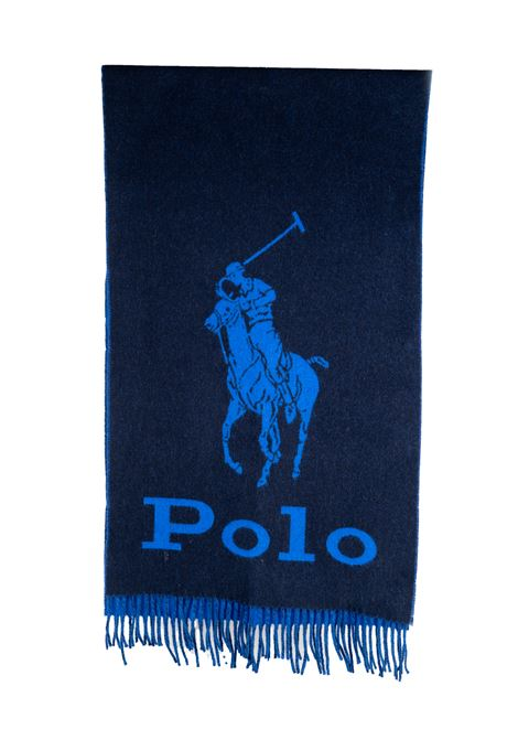 BLUE WOOL SCARF WITH FRONT LOGO PRINT POLO RALPH LAUREN | Scarfs | 449775974004