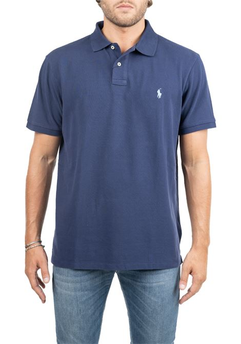 BLUE  COTTON POLO WITH FRONT LOGO EMBROIDERY SLIM FIT POLO RALPH LAUREN | Polo Shirts | 710548797010