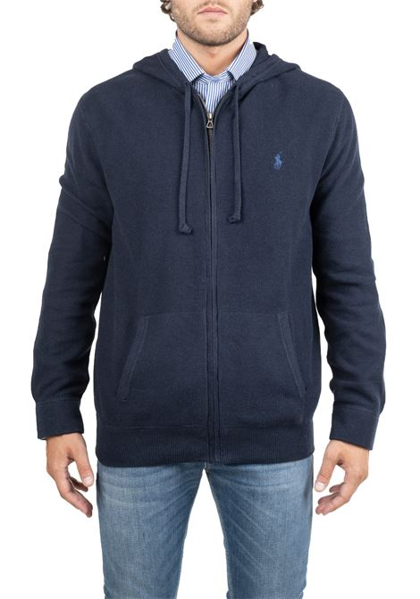BLUE COTTON SWEATSHIRT WITH FRONT LOGO EMBROIDERY POLO RALPH LAUREN | Sweatshirts | 710727546002