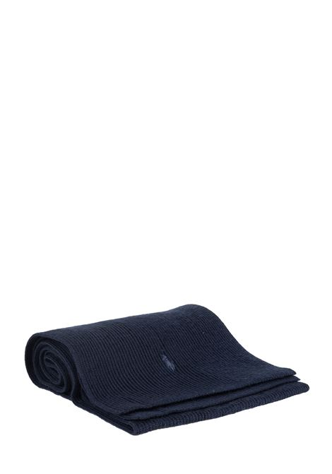 BLUE WOOL SCARF WITH LOGO EMBROIDERY POLO RALPH LAUREN | Scarfs | 710761417003