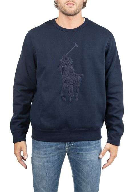 BLUE SWEATSHIRT WITH FRONT LOGO EMBROIDERY POLO RALPH LAUREN | Sweatshirts | 710766862009
