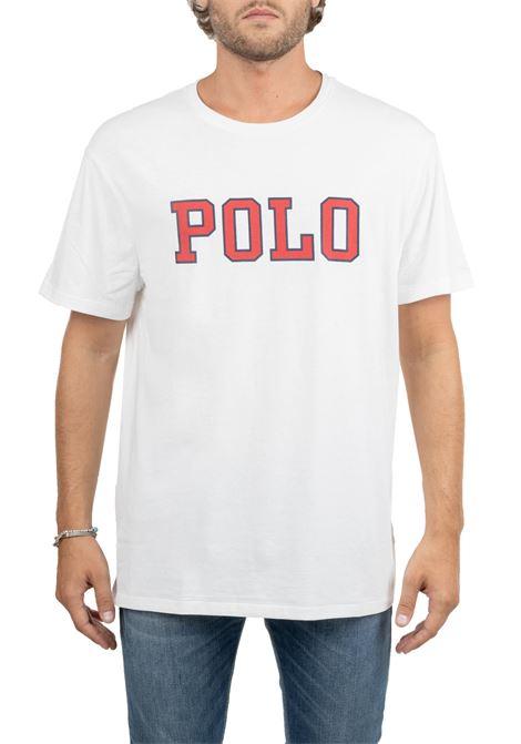 WHITE COTTON T-SHIRT WITH FRONT LOGO PRINT POLO RALPH LAUREN | T-shirt | 710766946002