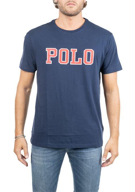 BLUE COTTON T-SHIRT WITH FRONT LOGO PRINT POLO RALPH LAUREN | T-shirt | 710766946003