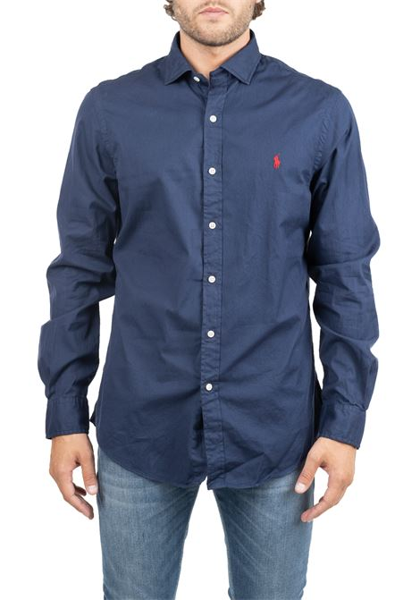 BLUE COTTON SHIRT WITH FRONT LOGO EMBROIDERY POLO RALPH LAUREN | Shirts | 710767112001