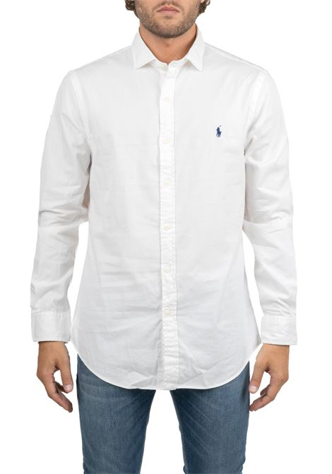 WHITE COTTON SHIRT WITH FRONT LOGO EMBROIDERY POLO RALPH LAUREN | Shirts | 710767112005