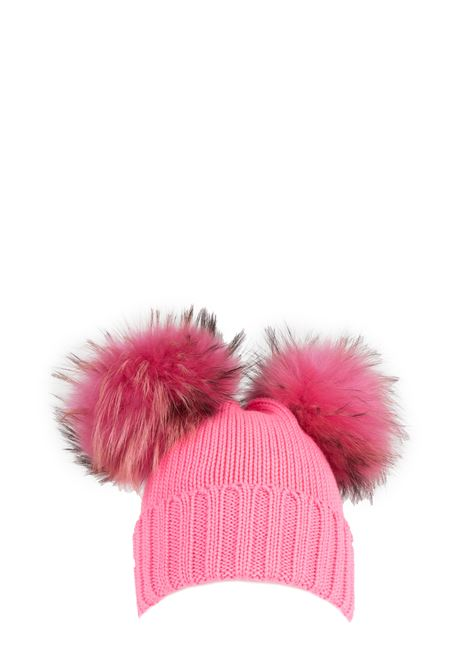FUCSIA WOOL HAT WITH TWO PUMPS REGINA | Hats | 90100GERANIO