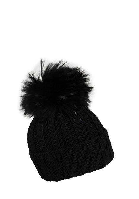 BLACK WOOL HAT WITH POMPON REGINA | Hats | 90599NERO