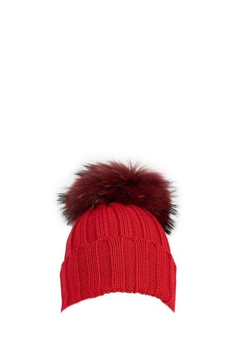 RED WOOL HAT WITH POMPON REGINA | Hats | 90599ROSSO