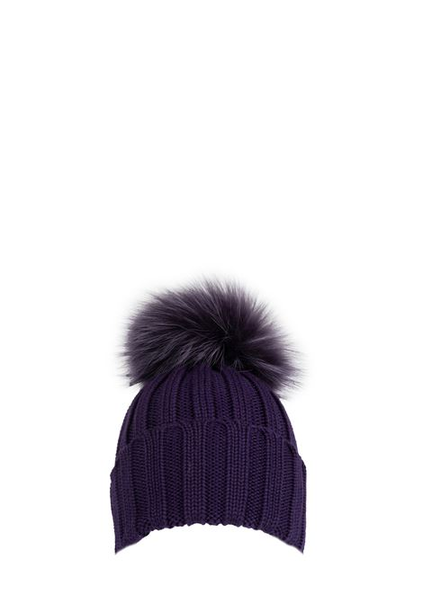 PURPLE WOOL HAT WITH POMPON REGINA | Hats | 90599VIOLA