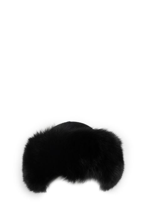 BLACK BAG IN WOOL WITH FUR REGINA | Hats | 90603INCHIOSTRO