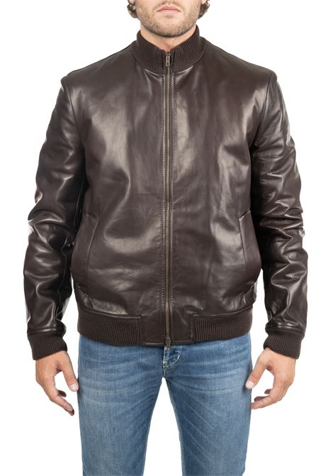BROWN LEATHER JACKET SALVATORE SANTORO |  | 37520PLONMORO