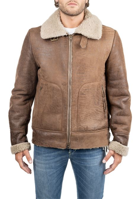 LEATHER JACKET WITH SHEARLING SALVATORE SANTORO | Jackets | 37529METIMARRONE