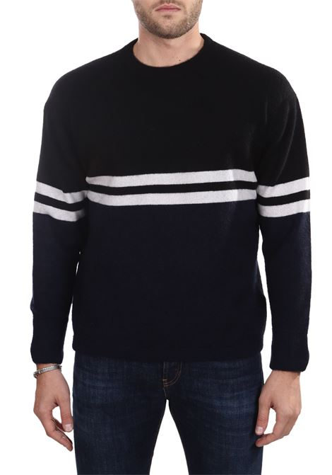 BLACK SWEATER IN CASHMERE SIDE SLOPE | Sweaters | SSL30001R08