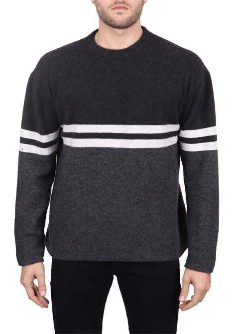 GRAY SWEATER IN CASHMERE SIDE SLOPE | Sweaters | SSL30001R18