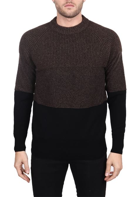 BICOLOR MESH IN WOOL MIXED SIDE SLOPE | Sweaters | SSL30412BK08