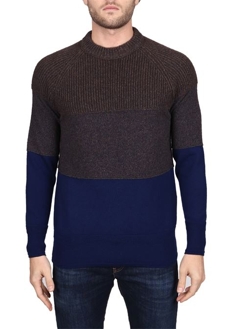 BICOLOR MESH IN WOOL MIXED SIDE SLOPE | Sweaters | SSL30412BK78
