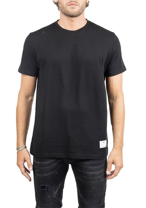 BLACK  COTTON T-SHIRT WITH FRONTAL APPLICATIONS THE EDITOR | T-shirt | E70600N1100099