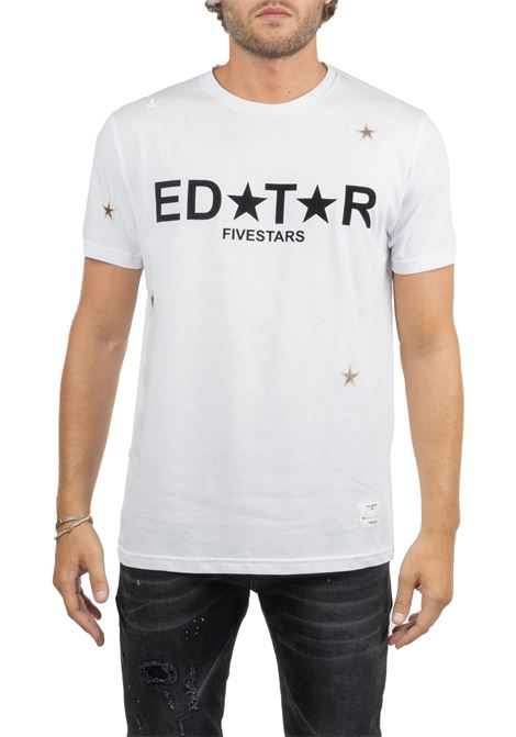 WHITE COTTON T-SHIRT WITH FRONT LOGO APPLICATION THE EDITOR | T-shirt | E70600N27100001