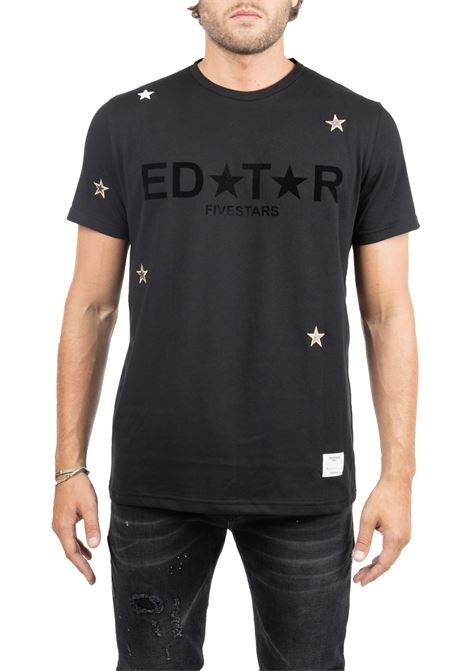 BLACK COTTON T-SHIRT WITH FRONT LOGO APPLICATION THE EDITOR | T-shirt | E70600N27100099