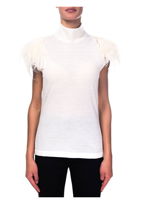 WHITE WOOL SWEATER WITH FEATHERS ALBERTA FERRETTI | Sweaters | A088066002