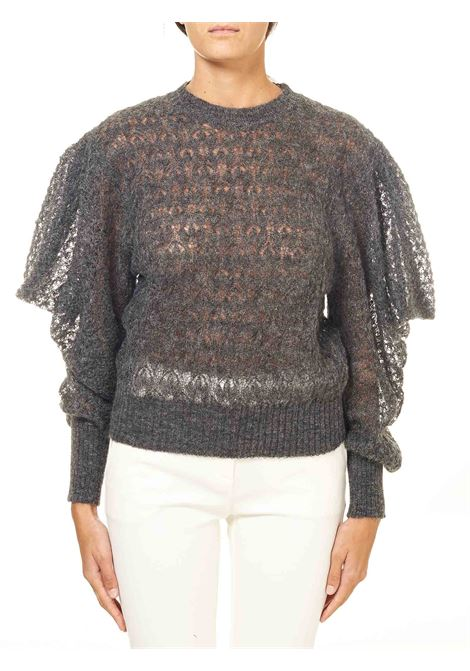 GRAY PULLOVER IN PERFORATED MOHAIR ALBERTA FERRETTI | Sweaters | A09115103509